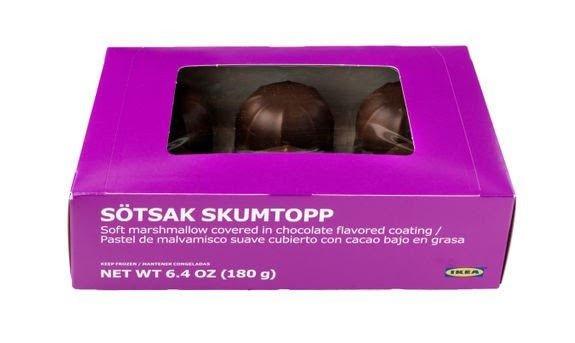SKUMBOLLER:IKEA tilbakekaller SÖTSAK SKUMTOPP, skumboller med sjokolade, grunnet uklar innholdsfortegnelse av allergenet melk i listen over ingredienser Foto: IKEA / NTB scanpix