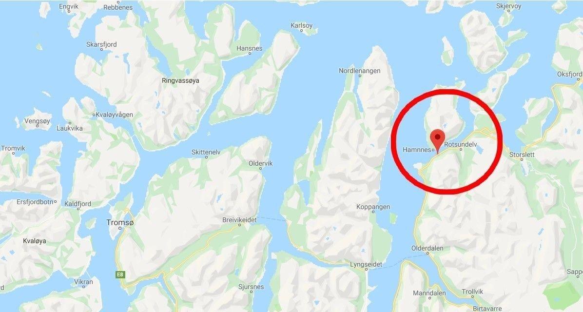 Rotsund ligger nordøst for Tromsø