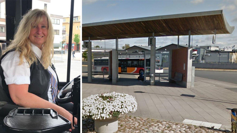 KASTET AV: Bussjåfør Lena Furuskog (51) kastet elevene av her ved Eksjö resecentrum i Eksjö kommune i Småland.