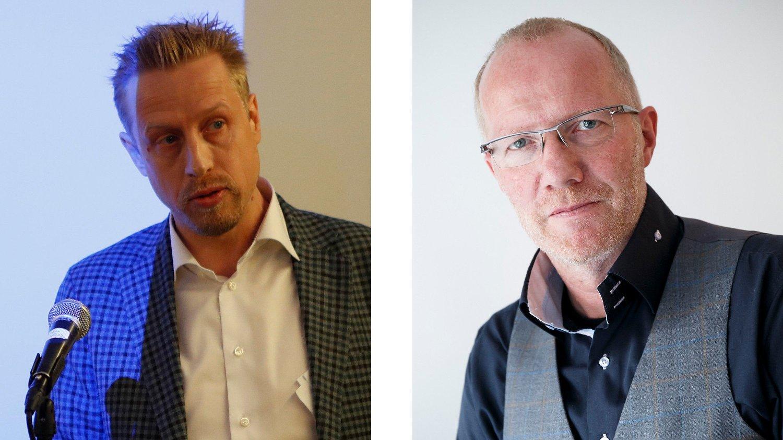 REAKSJON: Kristoffer Egeberg (t.v.) er sjef i Faktisk.no, som er i hardt vær etter Minervas avsløringer. Arne Jensen (t.h.) er generalsekretær i redaktørforeningen og stiller seg kritisk til praksisen.