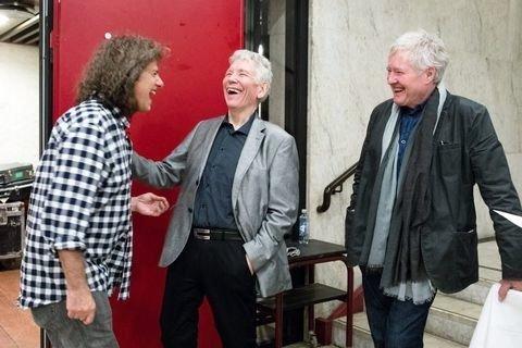Det blir alltid god lyd og god stemning med Jan Erik Kongshaug involvert. Her sammen med Pat Metheny og Arild Andersen. Foto: Audun Braastad