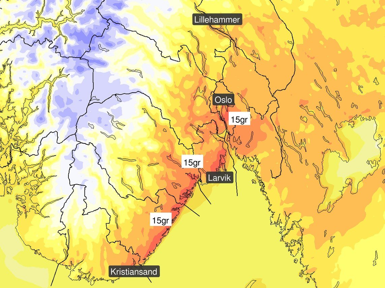 Torsdag blir det godt og varmt Østafjells med temperaturer rundt 15 grader og lange perioder med sol, melder meteorologene.