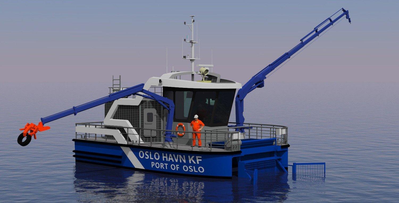 MILJØBÅT: Slik blir Oslo Havns nye miljøbåt som skal plukke søppel. Båten kan løfte tungt, og to kraner vil sørge for at store gjenstander kan plukkes opp fra sjøen.