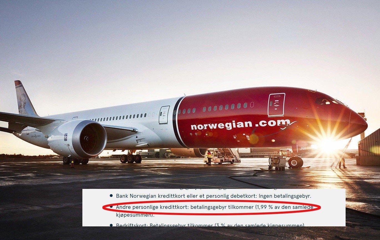 FORBUDT: Norwegian tar kortgebyr som snart blir forbudt.