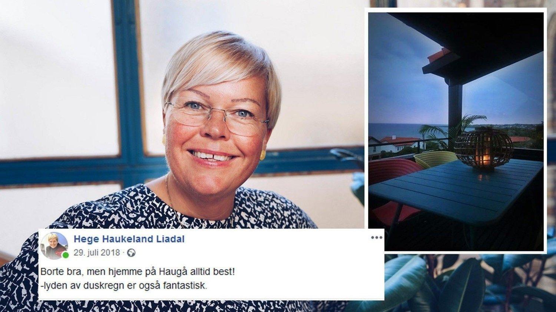 TABBE: Mens Ap-politikeren Hege Haukeland Liadal ifølge reiseregningen overnattet i Odda, la hun ut statusoppdatering fra verandaen i Haugesund.