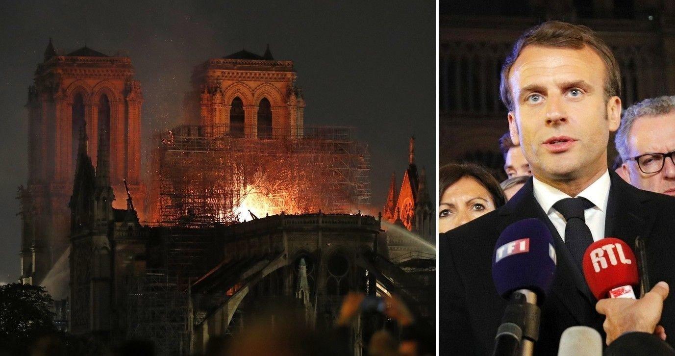 President Emmanuel Macron besøkte brannåstedet og holdt en kort tale sent mandag kveld foran Notre-Dame, følelsesladet og med tårer i øynene.