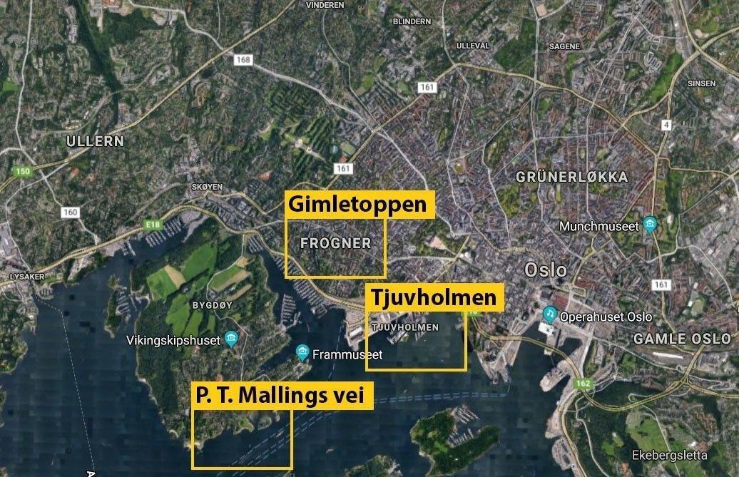 Her ligger Oslos tre dyreste boligområder, ifølge stjernemeglerne: Gimletoppen på Frogner, Kavringen ytterst på Tjuvholmen og nedre del av P.T. Mallings vei på sydsiden av Bygdøy.