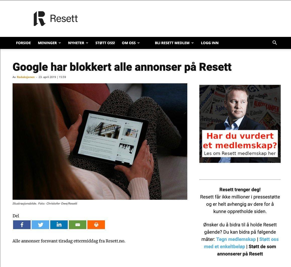 Resett informerte selv om blokkeringen tirsdag. Foto: Skjermbilde / NTB scanpix