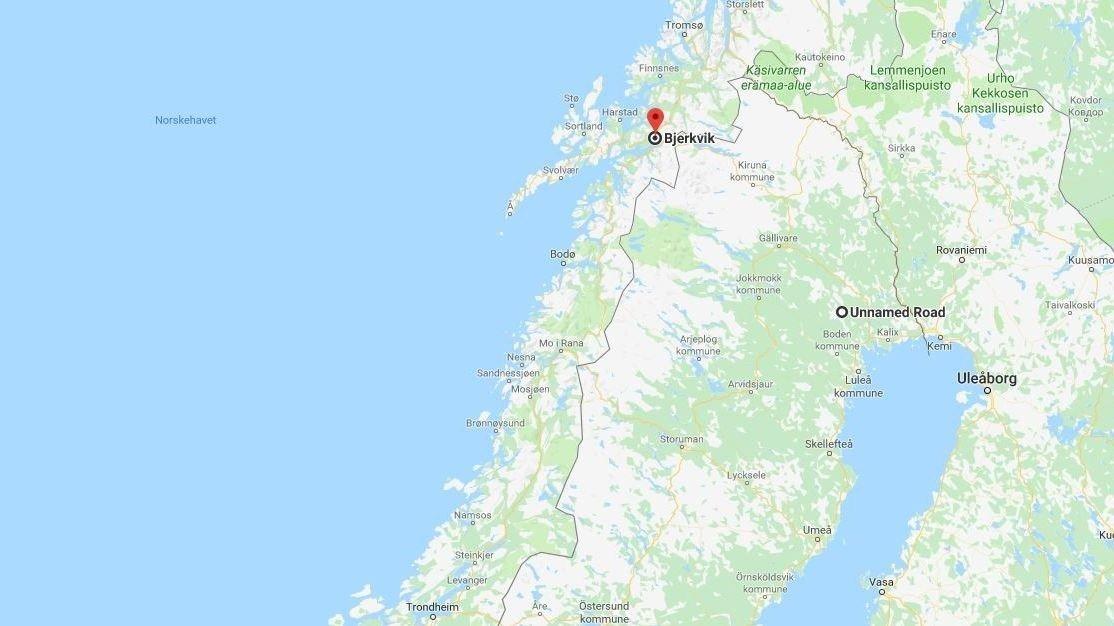 En person er funnet på Øse utenfor Bjerkvik i Nordland.