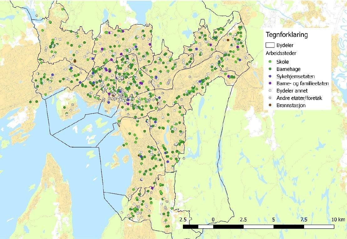 FJERNES: Oslo kommunes arbeidssteder, med totalt over 50.000 ansatte, er fordelt over hele byen (se kartet). Innenfor de meste sentrumsnære bydelene har Klimaetaten foreslått at alle parkeringsplassene til de kommunalt ansatte blir fjernet.