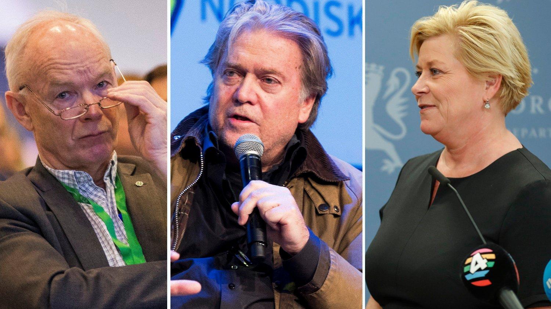 Elin Ørjasæter mener Steve Bannon høres mer ut som Senterpartiets Per Olaf Lundteigen enn Fremskrittspartiets finansminister Siv Jensen.