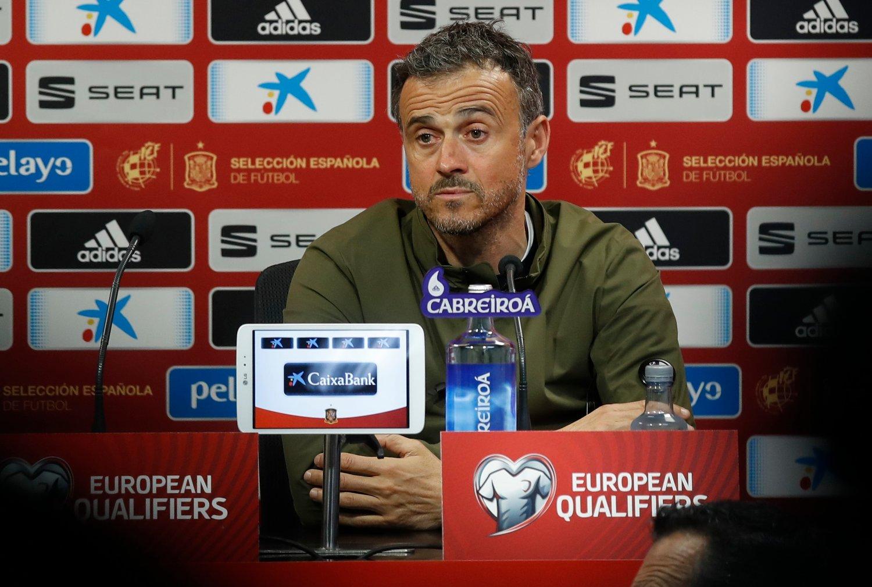 Spanias trener Luis Enrique har ikke vært på jobb på halvannen måned. Foto: Erik Johansen / NTB scanpix