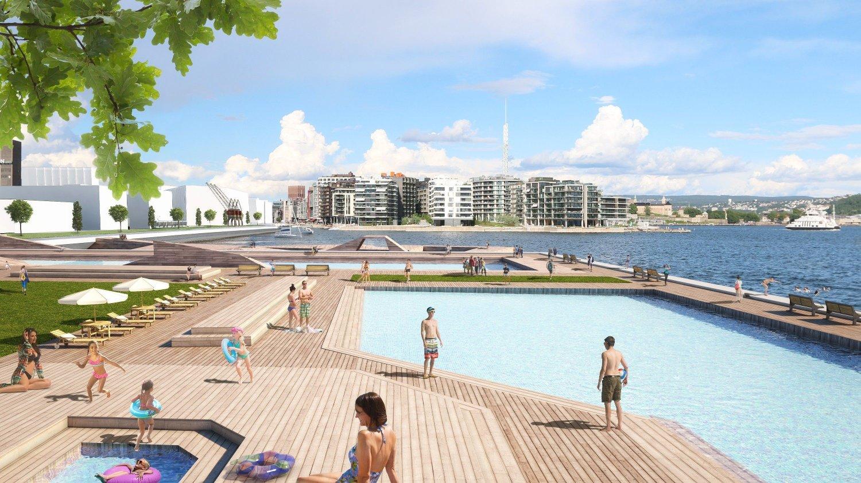NYTT SJØBAD: På Filipstad, rett ved Aker Brygge i Oslo, planlegges det blant annet et nytt sjøbad for Oslos befolkning, samt fere tusen boliger.