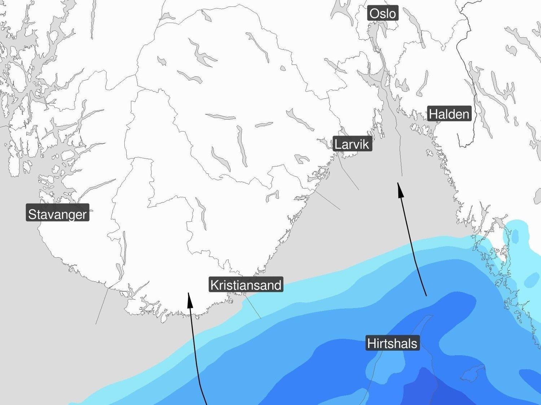 Et nedbørsområde er på vei mot kysten av Sør-Norge.
