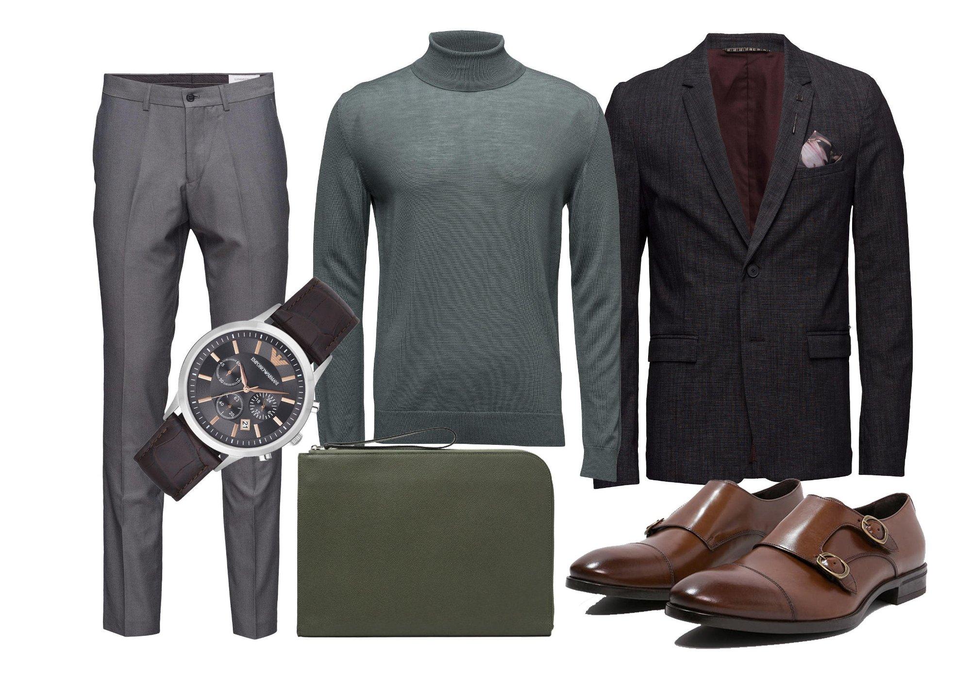 30d058a0 Vi liker å matche den med en fet mørkegrå blazer slik som denne fra Boss  Orange, lysegrå dressbukser og en enkel klokke fra Armani.