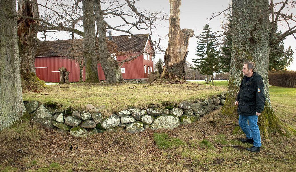 STOR STEINSIRKEL: Cirka en meter høy, nesten 20 meter i diameter og noen enorme – og gamle eiketrær. Kan det være et førkristent offersted, spør Arne Horn. Foto: Hans Christian Moen